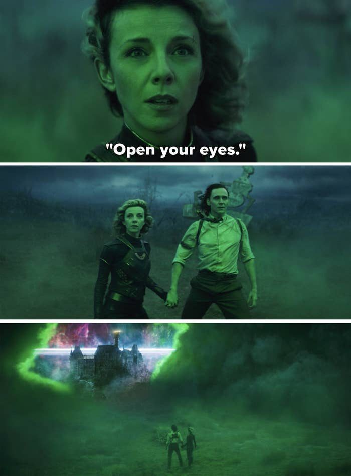 Sylvie telling Loki to open his eyes, and the two of them looking through green mist at a city