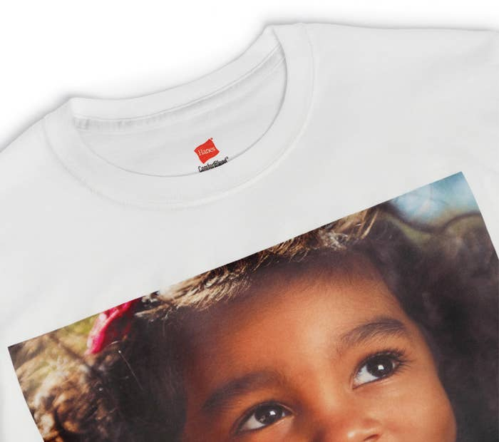 A shirt with an image of a child on it