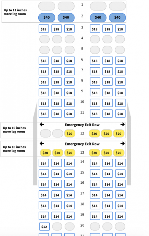 An airplane seating map