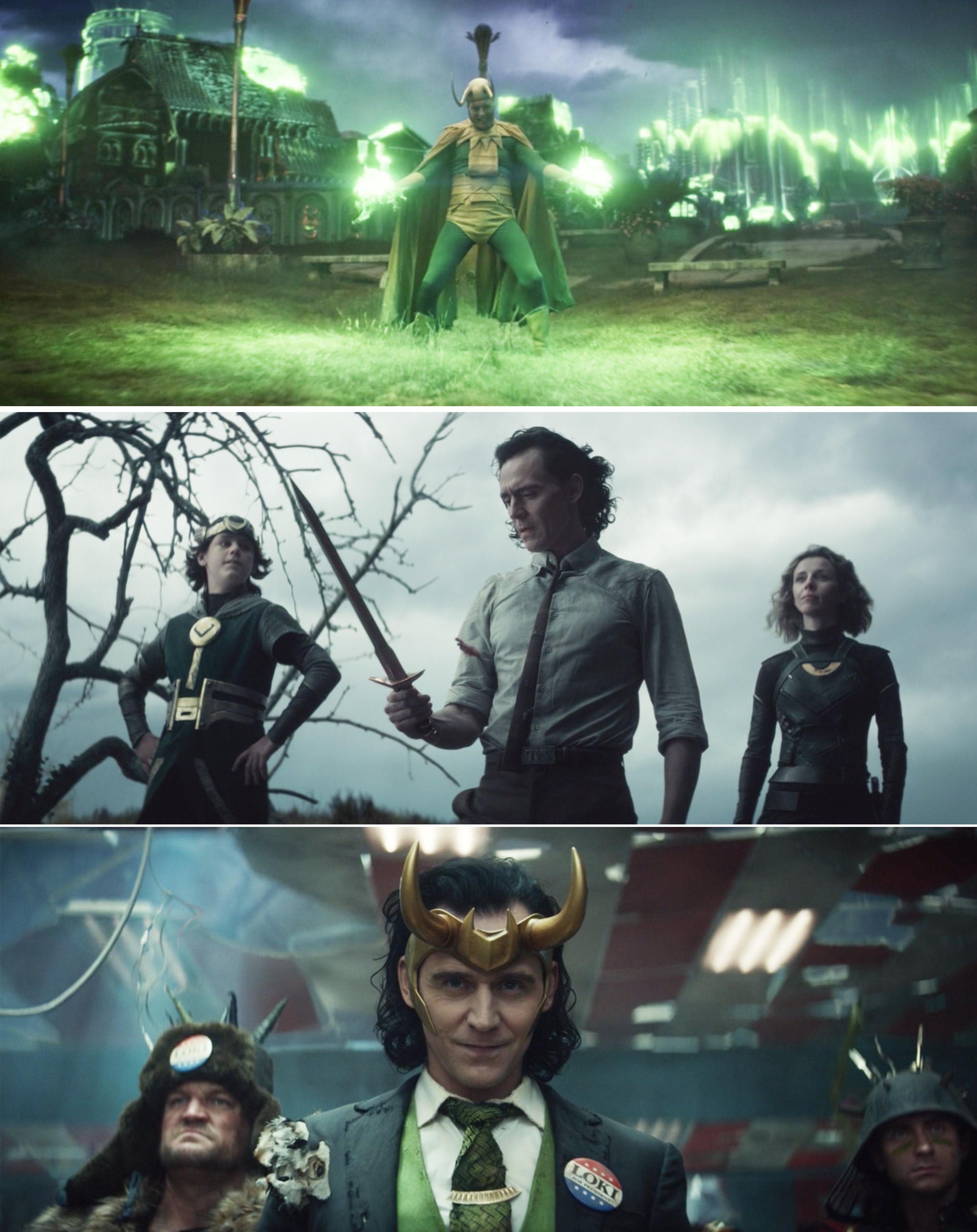 Classic Loki doing magic, Kid Loki giving Loki and sword, and President Loki