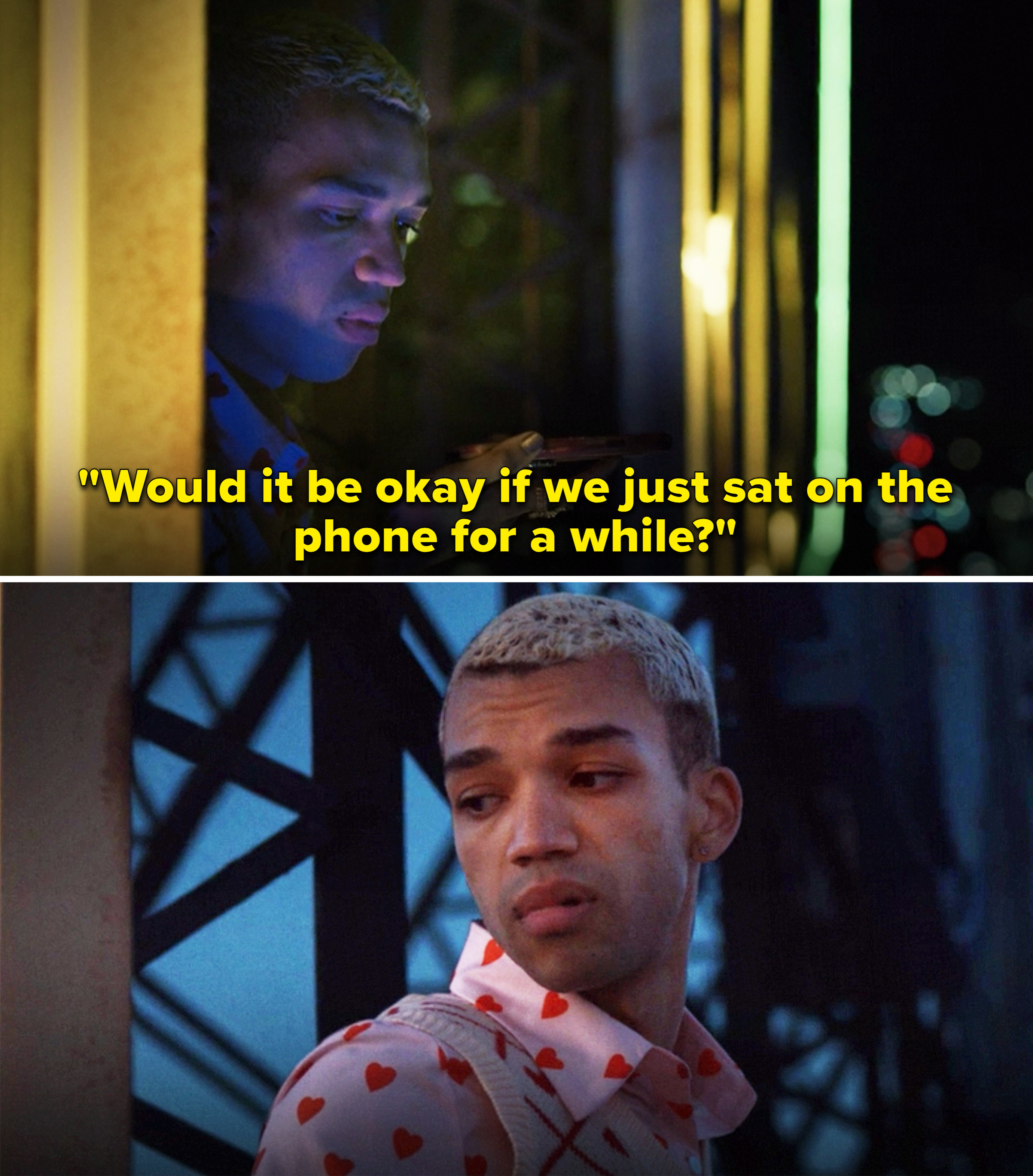 """Chester talking on the phone and saying, """"Would it be okay if we just sat on the phone for a while?"""""""