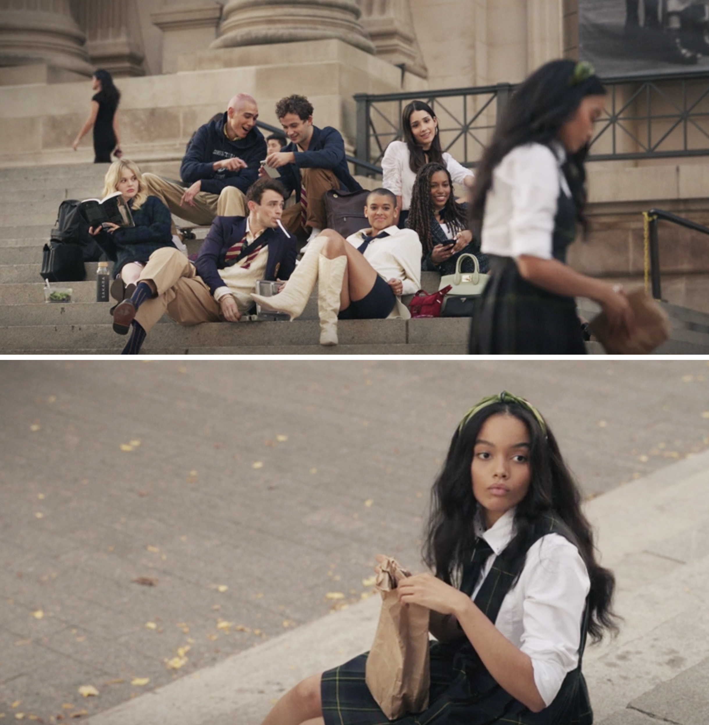 The new cast of Gossip Girl sitting on the steps of the Met