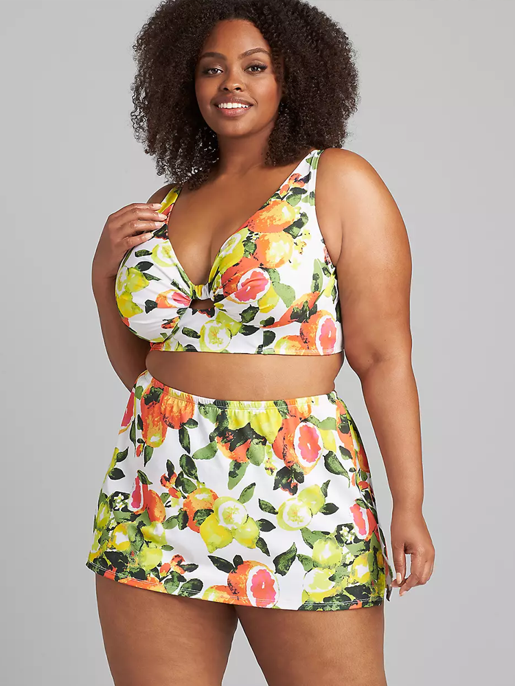 bikini with skirt and citrus pattern