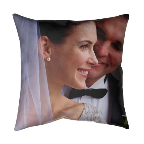 The pillow with a picture of models on it