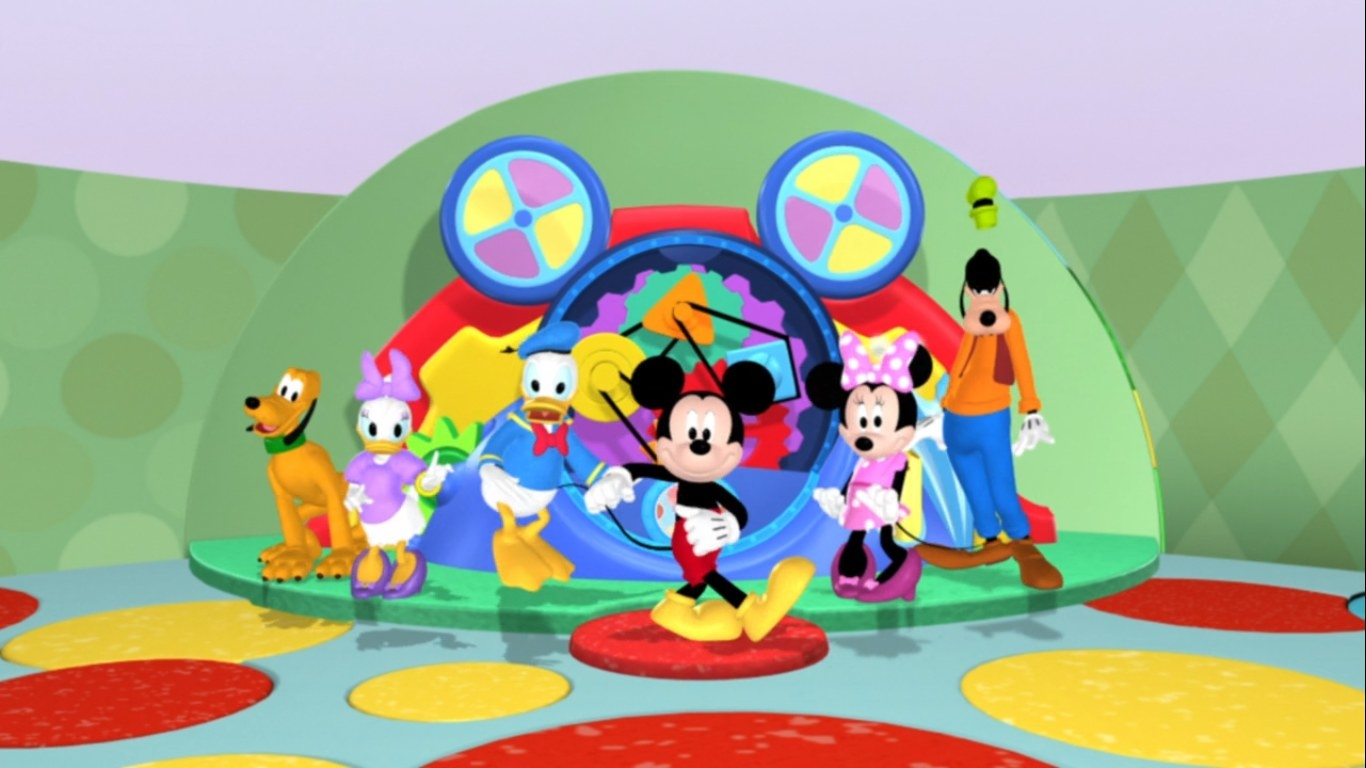 Pluto, Daisy Duck, Donald Duck, Mickey Mouse, Minnie Mouse, and Goofy dance in the clubhouse