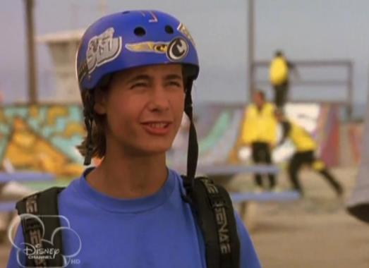 Brink wearing a helmet and looking goofy