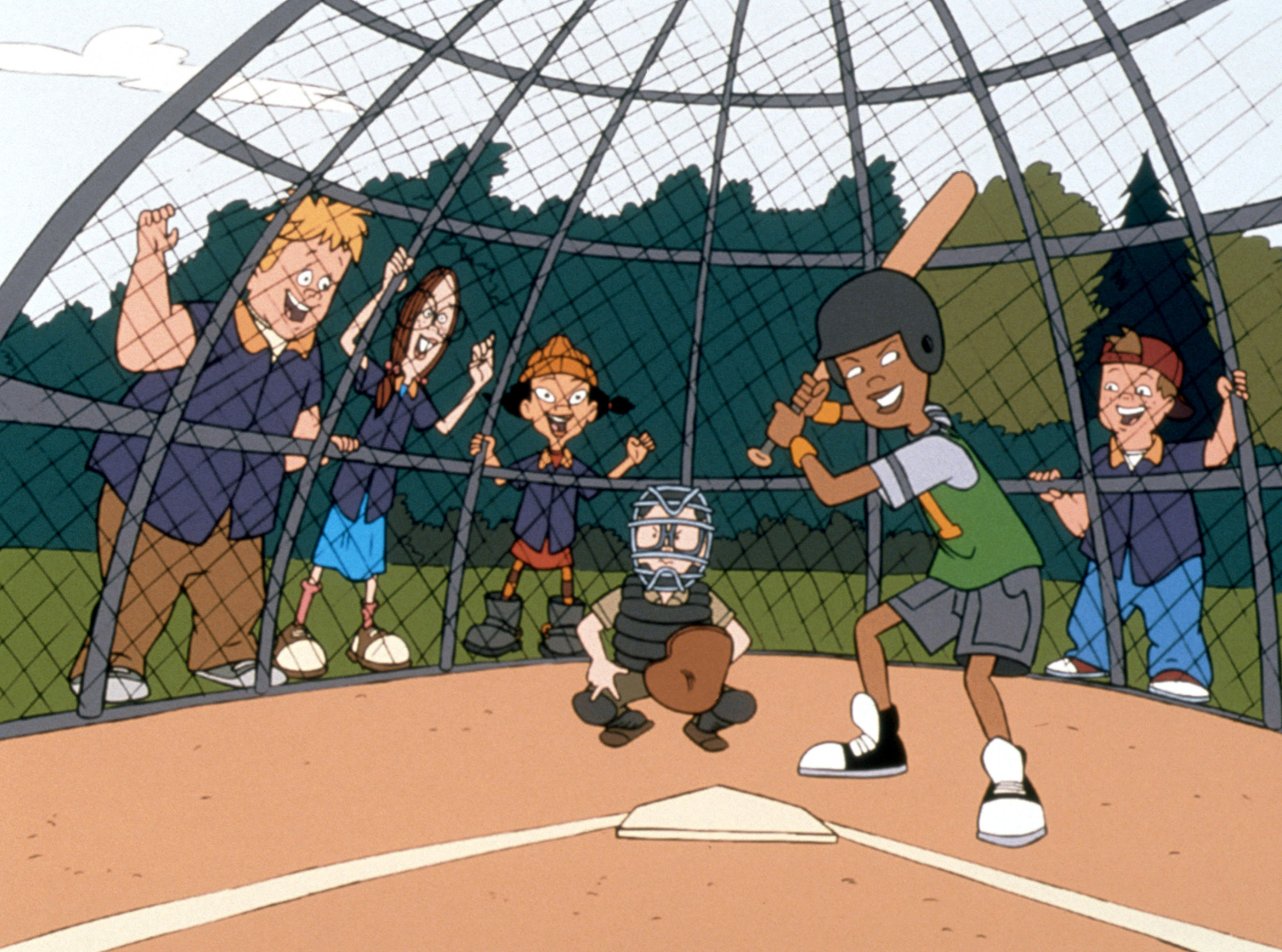 Mickey, Gretchen, Spinelli, and TJ cheer on Vince as he's up to bat while Gus plays catcher