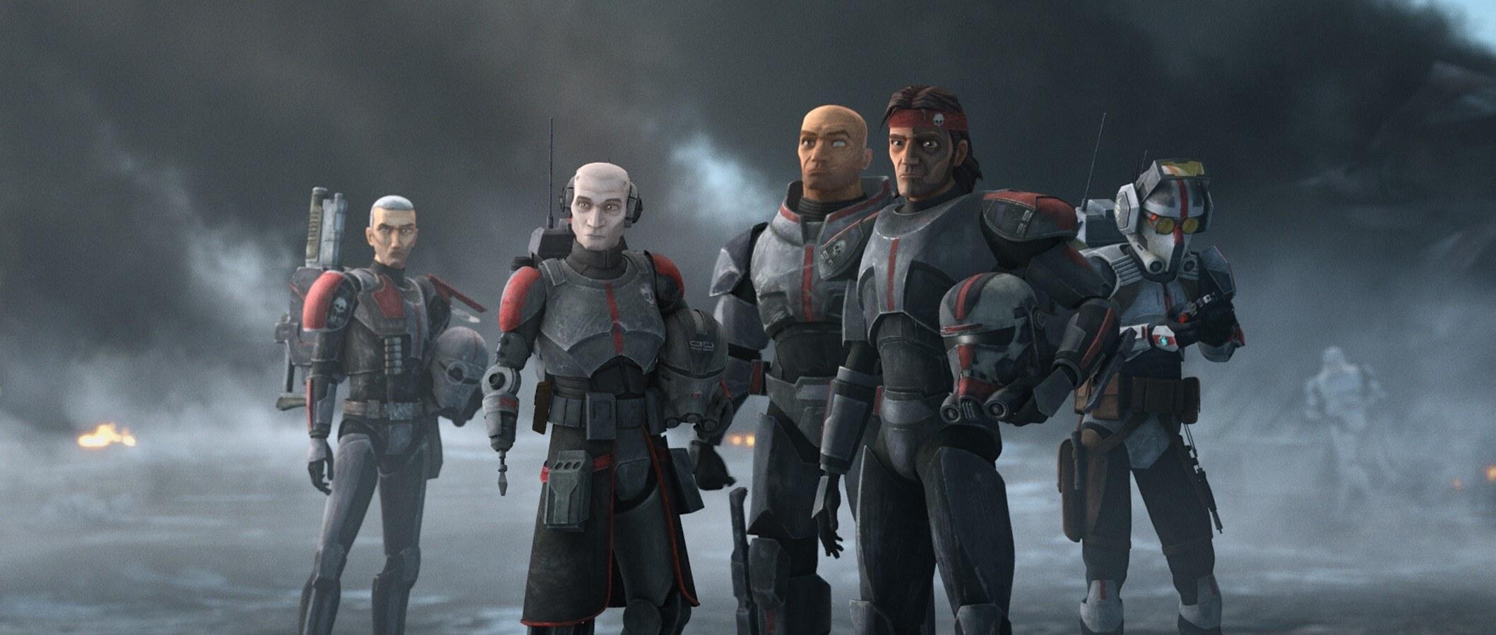 Crosshair, Echo, Wrecker, Hunter, and Teck stand in a smokey plain