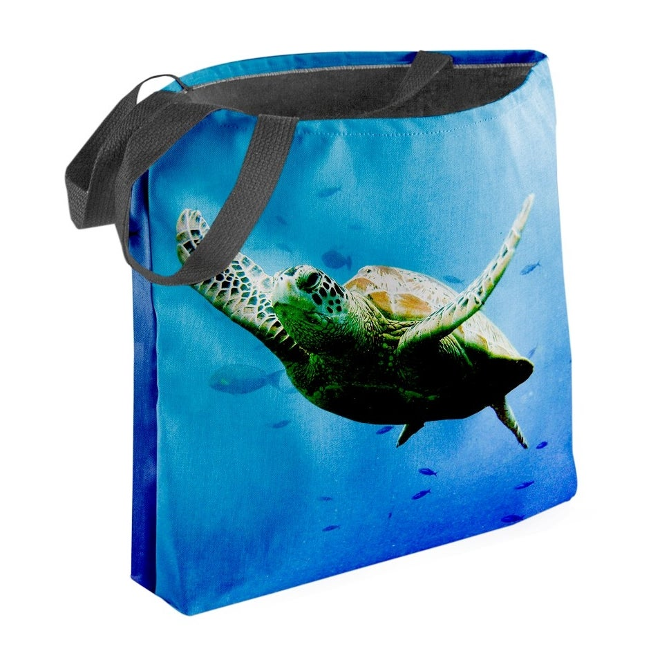 The bag with an image printed on it. It's an all-over print; no border.