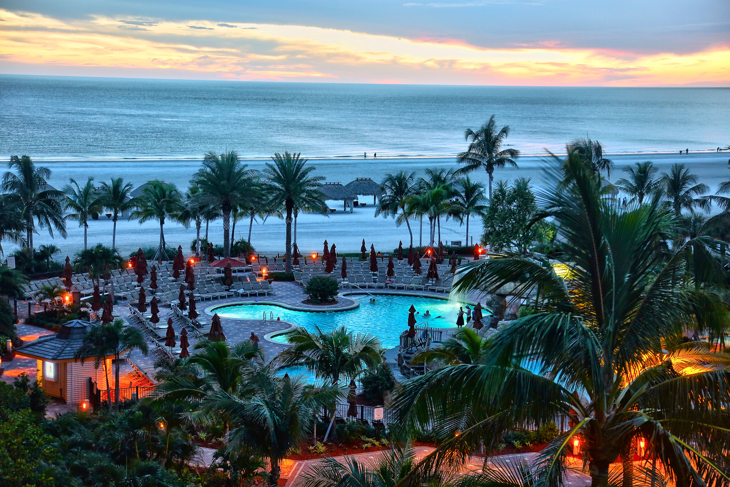 View of resort and beach on Marco Island