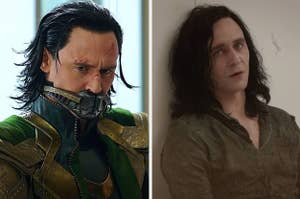 Tom hiddleston as loki wearing different hairstyles in the MCU