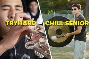 a kid trying too hard to play his instrument next to a senior not giving one single crap