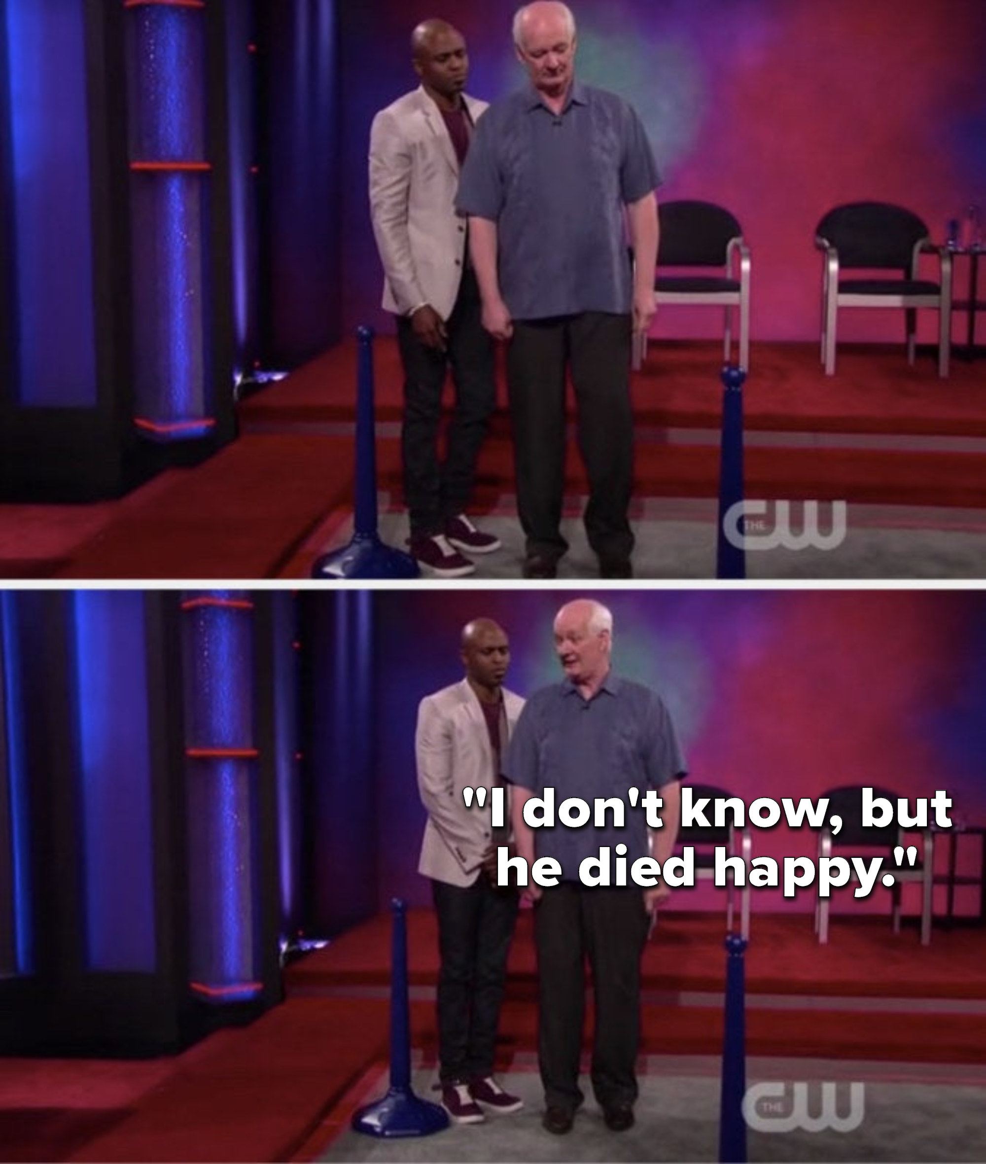 """While standing near essentially a pole with a base, Mochrie says,""""I don't know, but he died happy"""""""