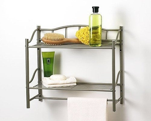 Thenickel finish two-shelf towel bar wall organizer