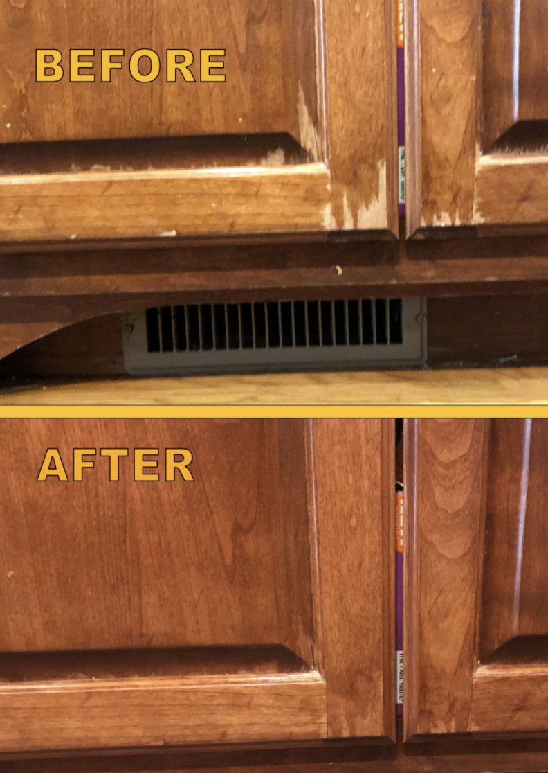 A reviewer's scratched up cabinets before using the finisher / A reviewer's smoother cabinets after using the finisher