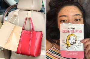 on left, hooks with shopping bags on back of car seat. on right, reviewer wears Avarelle Acne Cover Patches on forehead