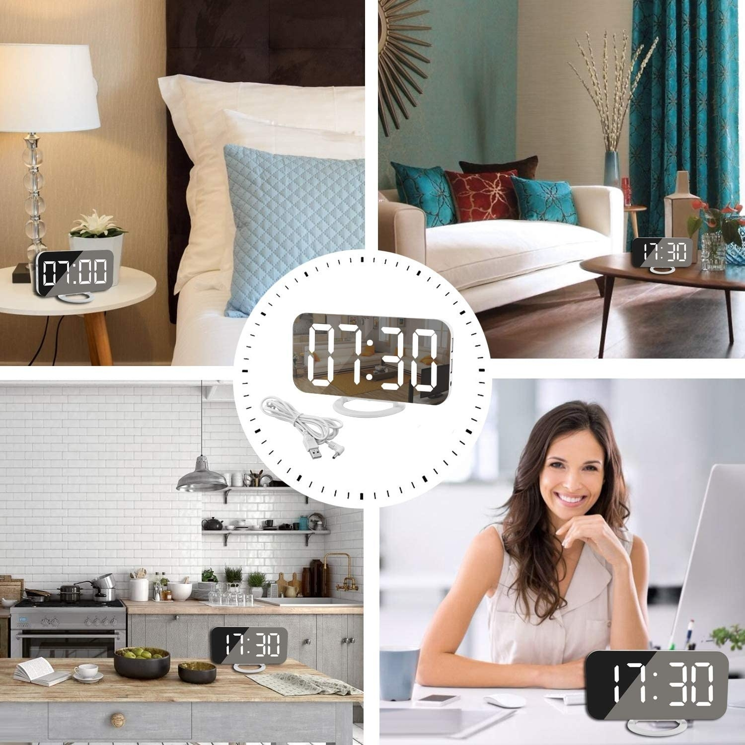 The clock being used in various different areas of a home