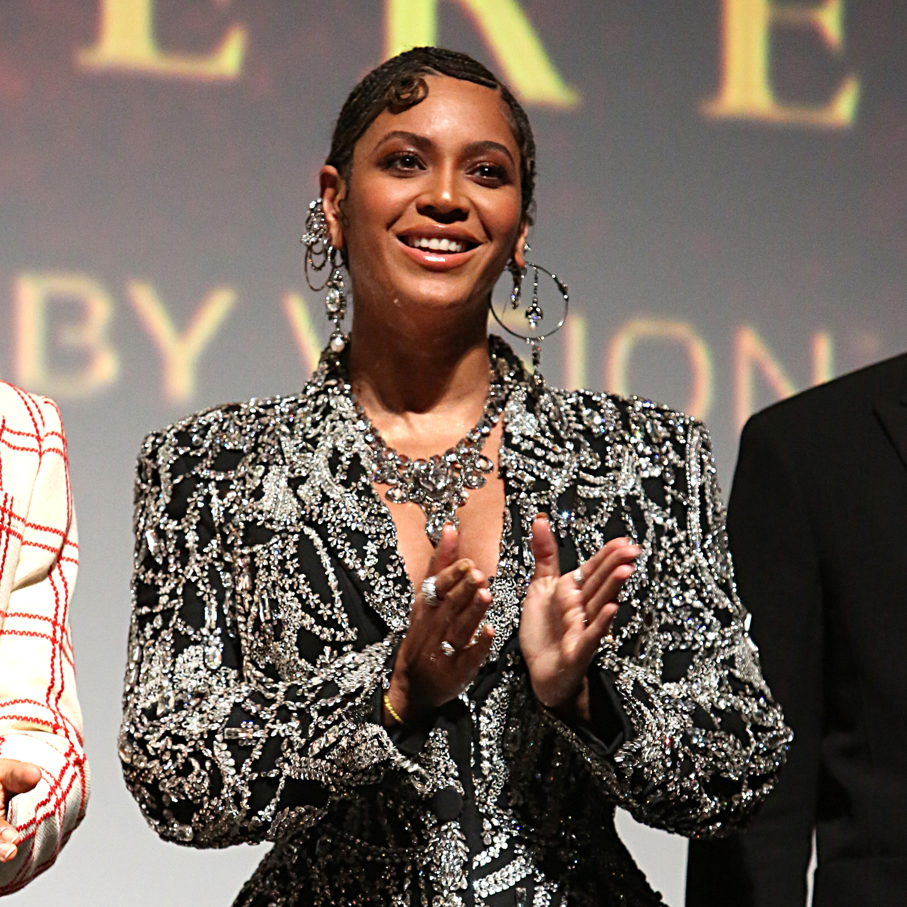 Beyoncé claps onstage during the world premiere of Disney's The Lion King in Los Angeles in 2019