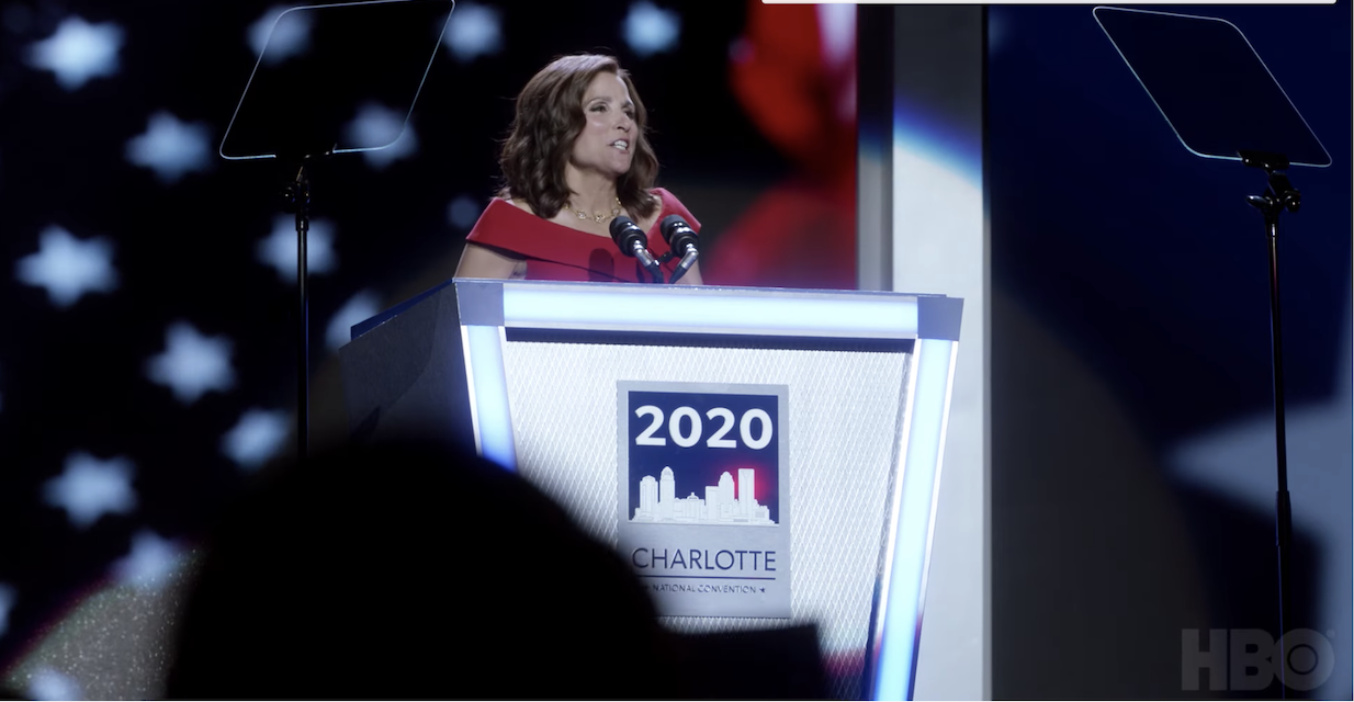 Selina Meyer accepts the presidential nomination in Veep's finale