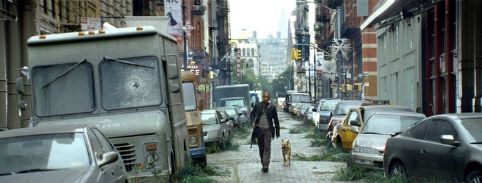 Dr. Neville walks down a deserted New York street with his dog Sam