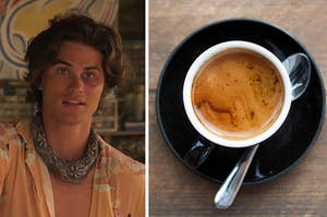 John B on the left and a cup of coffee on the right
