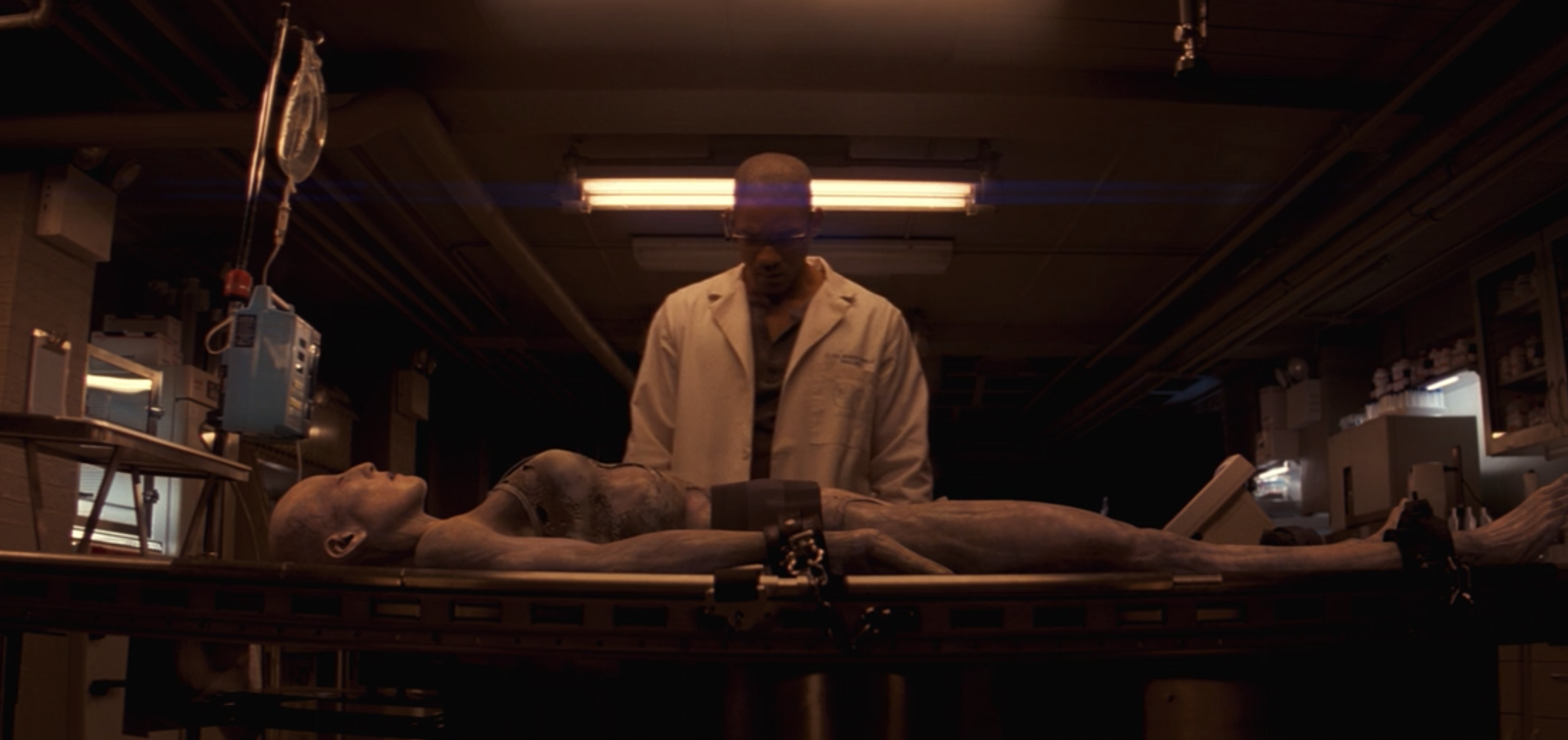 Dr. Neville performs human trials to find a cure for the virus that turned people into mutants