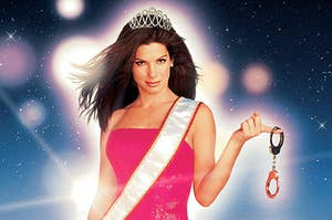 gracie wearing a tiara and a sash, holding handcuffs