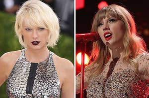bleach blonde taylor on the left and red era taylor on the right