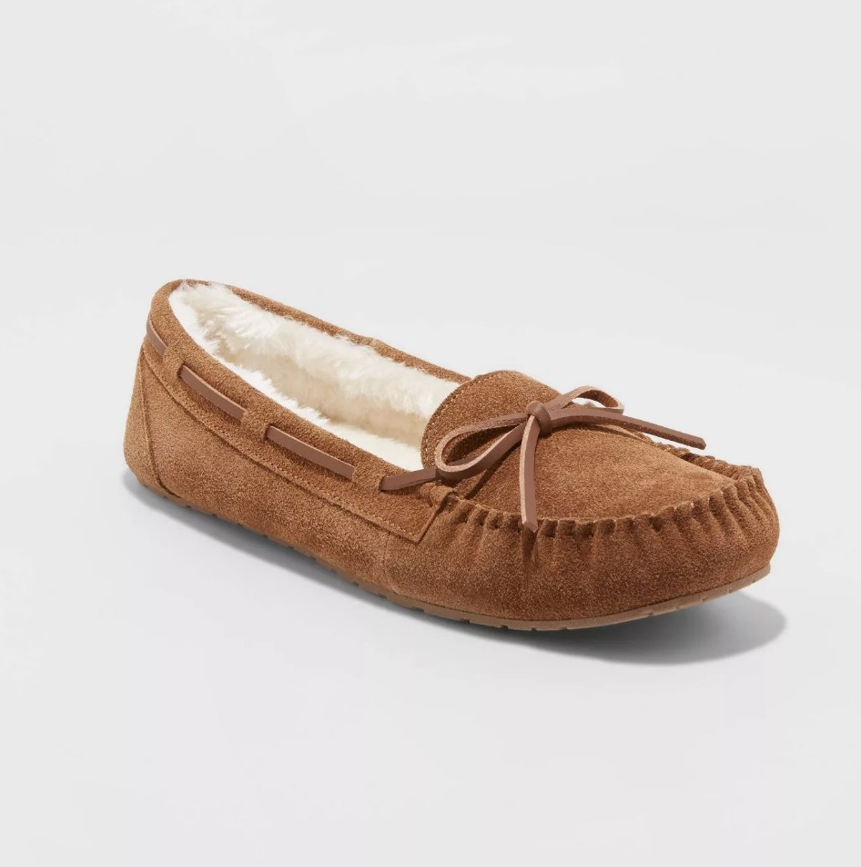 Tan colored suede moccasins