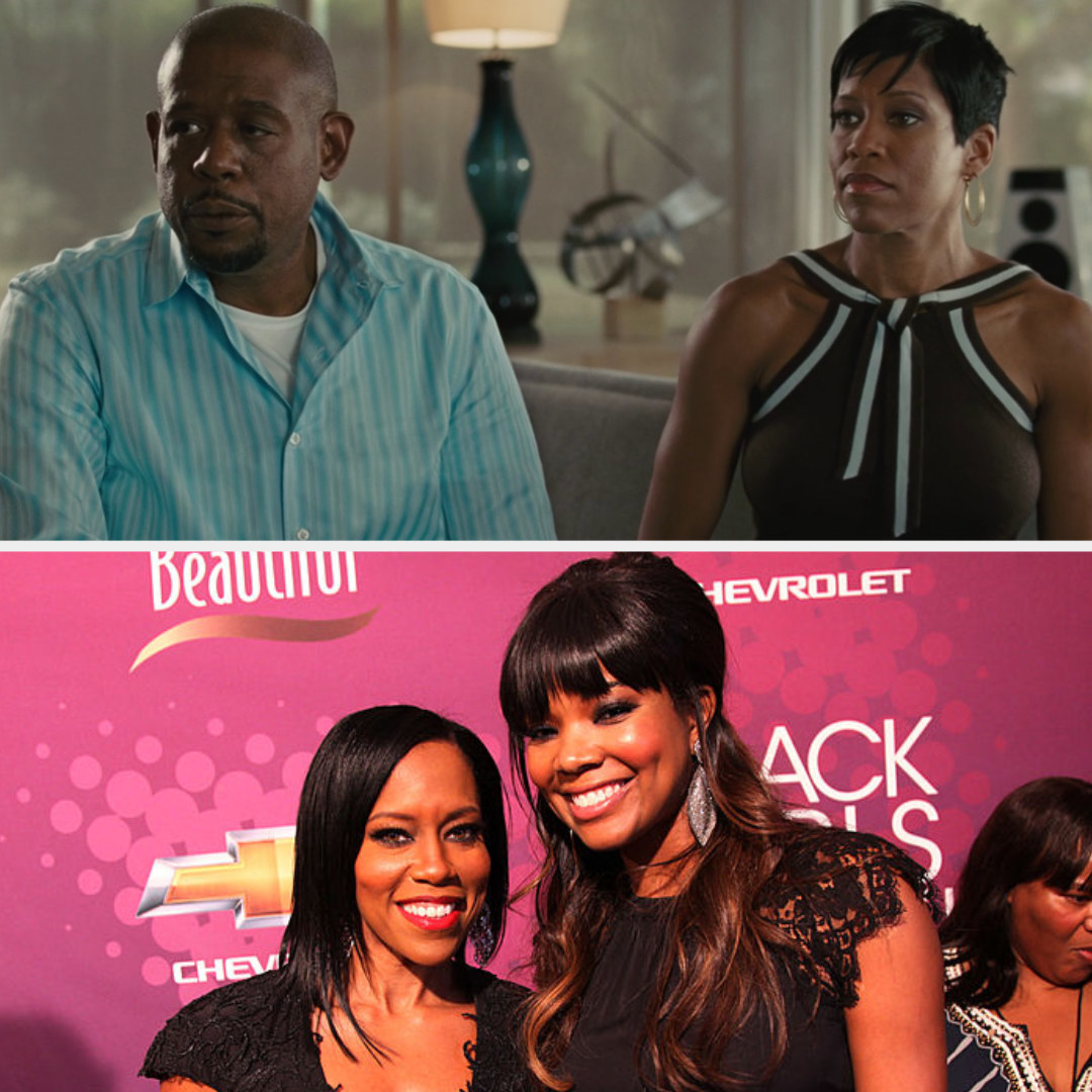 Above, Angela and Brad sit next to each other on the couch. Below, King and Union smile at premiere event