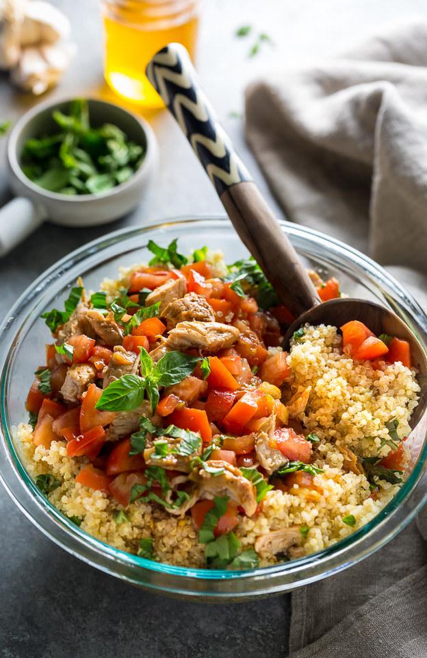 Quinoa salad with bruschetta tomatoes and chicken