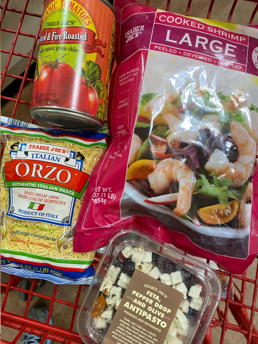 Frozen shrimp, a bag of orzo, antipasto mix, and diced tomatoes