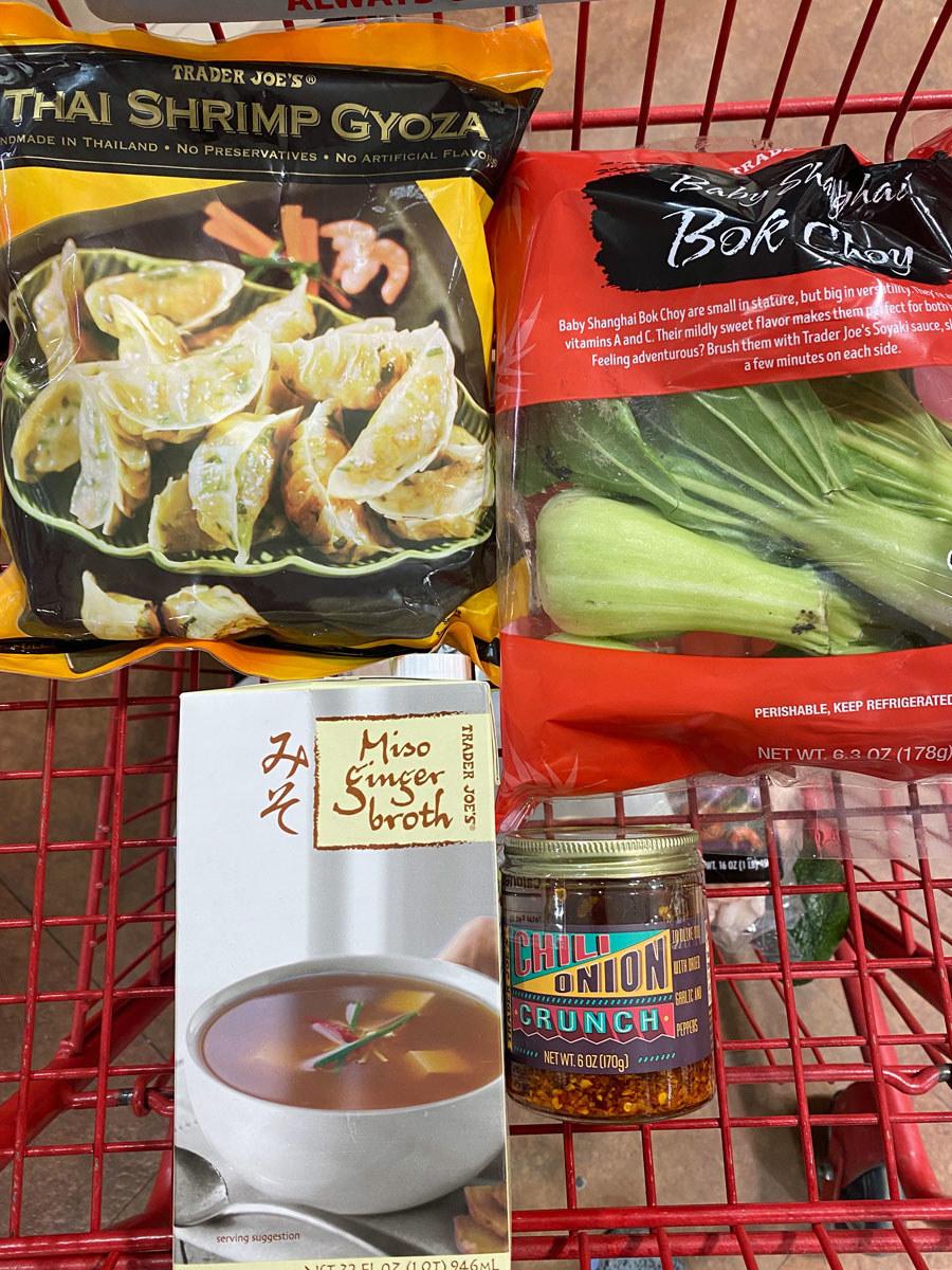 Miso ginger broth, chili onion crunch, frozen gyoza, and bok choy from Trader Joe's