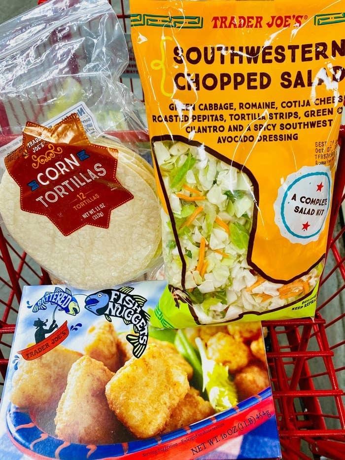 Fish nuggets, tortillas, and southwestern salad kit from Trader Joe's