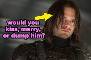 """""""would you kiss marry or dump him?"""" next to a picture of bucky barnes"""