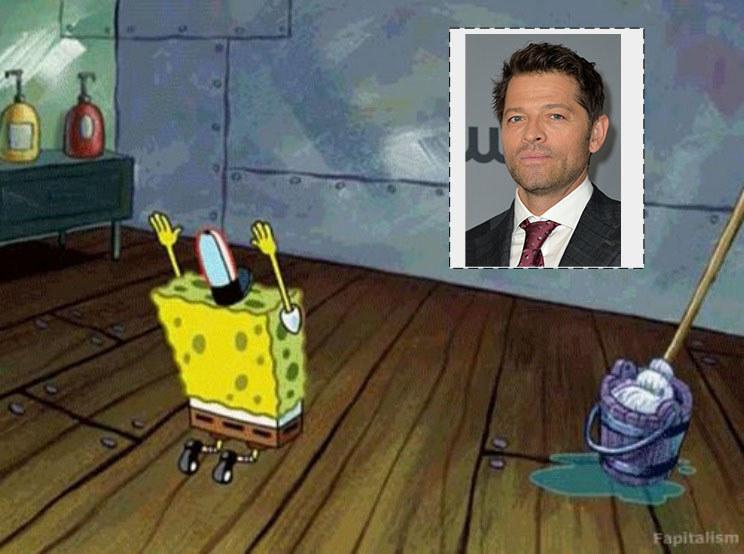 SpongeBob SquarePants bowing down to a photoshopped image of Misha