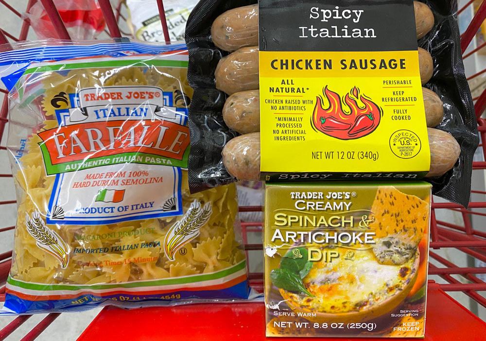 Trader Joe's spinach artichoke dip, farfalle pasta, and Italian chicken sausage