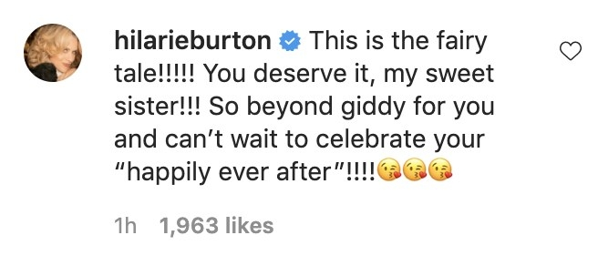 Hilarie writes, This is the fairy tale! You deserve it my sweet sister! So beyond giddy for you and can't wait to celebrate your happily ever after!