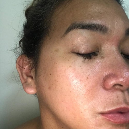 Reviewer's photo showing their skin glowing after using the collagen cream