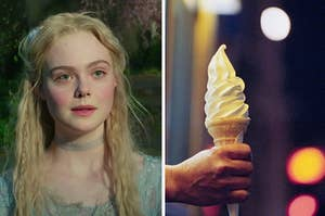 Aurora is on the left looking at a vanilla ice cream cone on the right