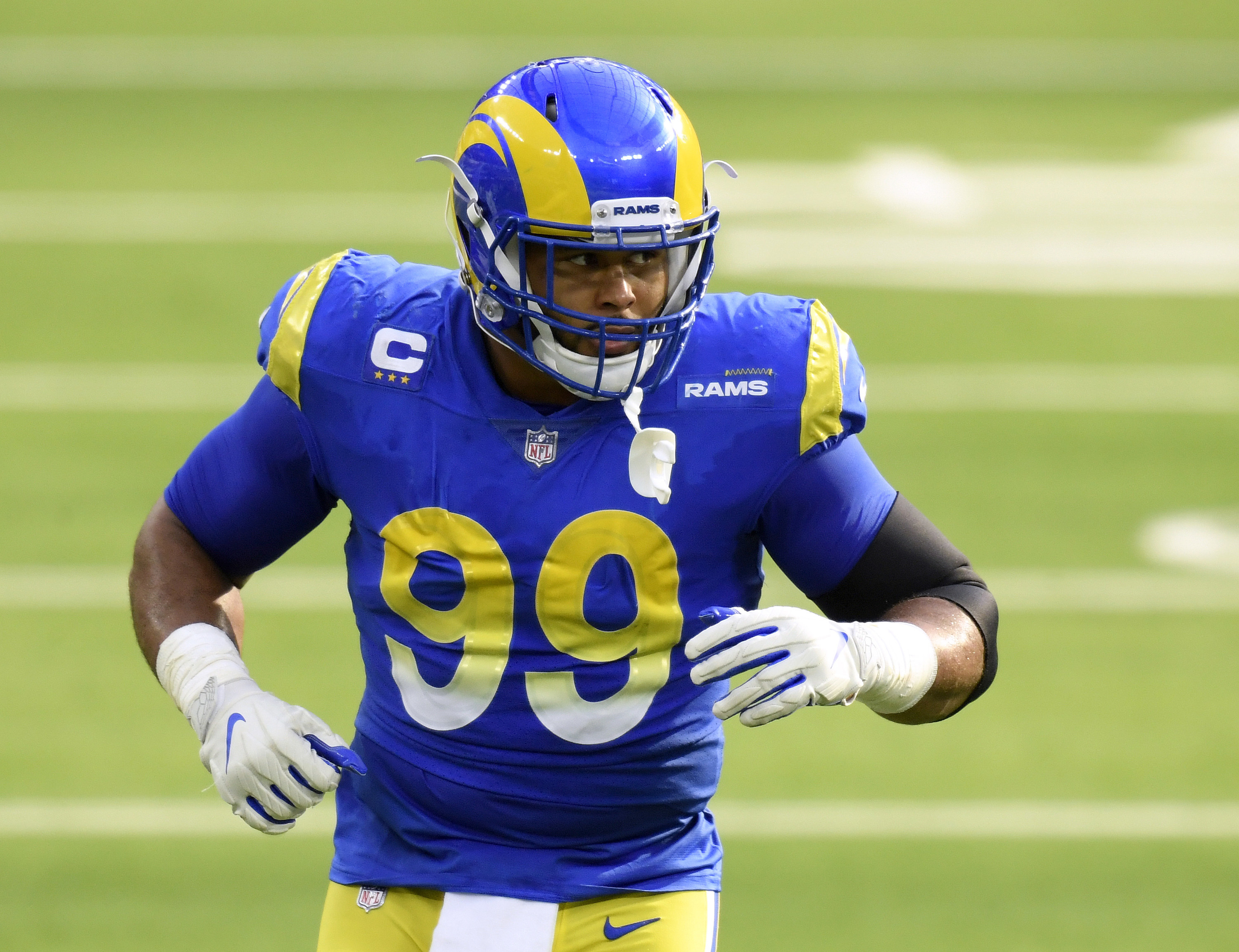 Blue and gold Rams uniforms