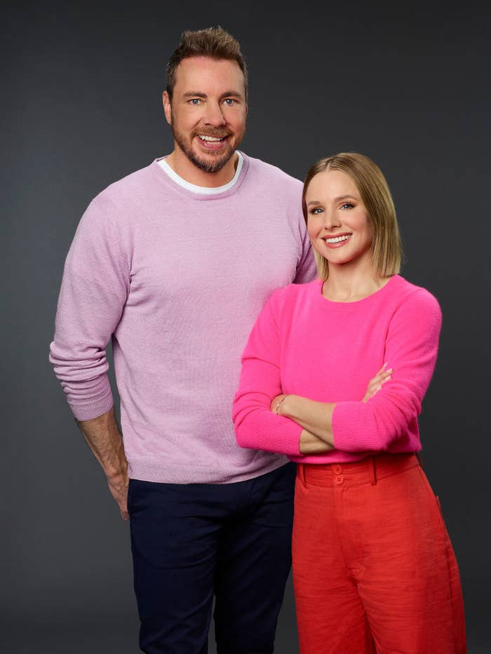 Dax Shepherd and Kristen Bell posing together for a promotional photograph