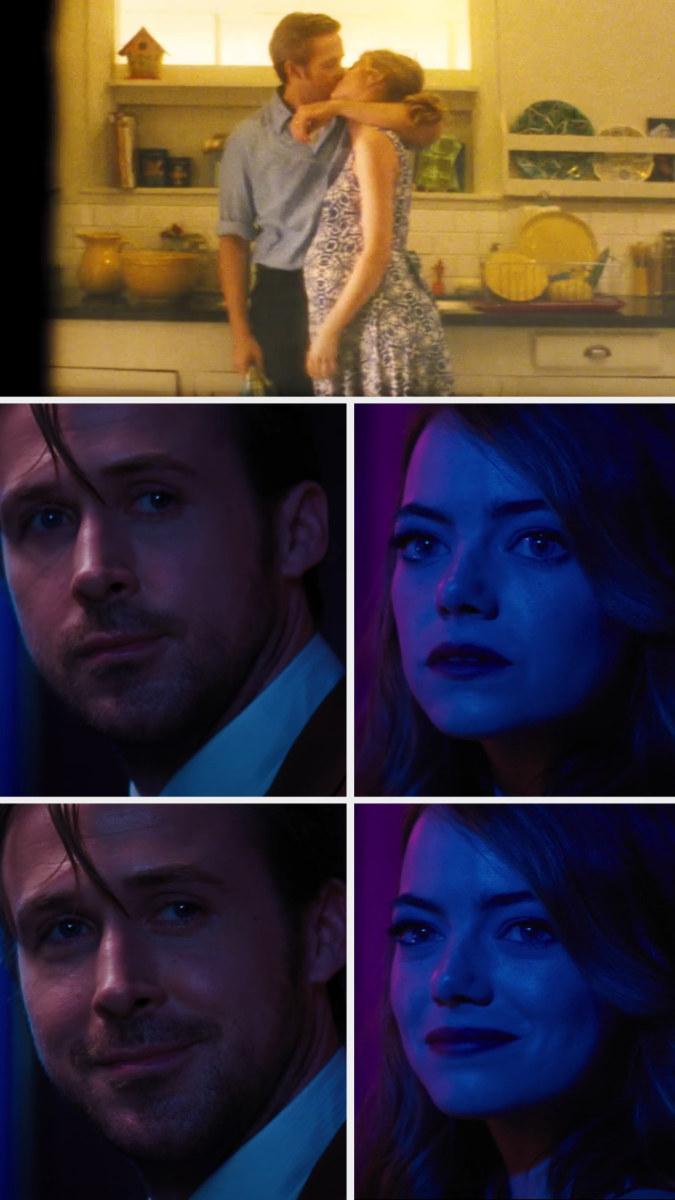 Sebastian and Mia looking at each other lovingly in Sebastian's jazz club