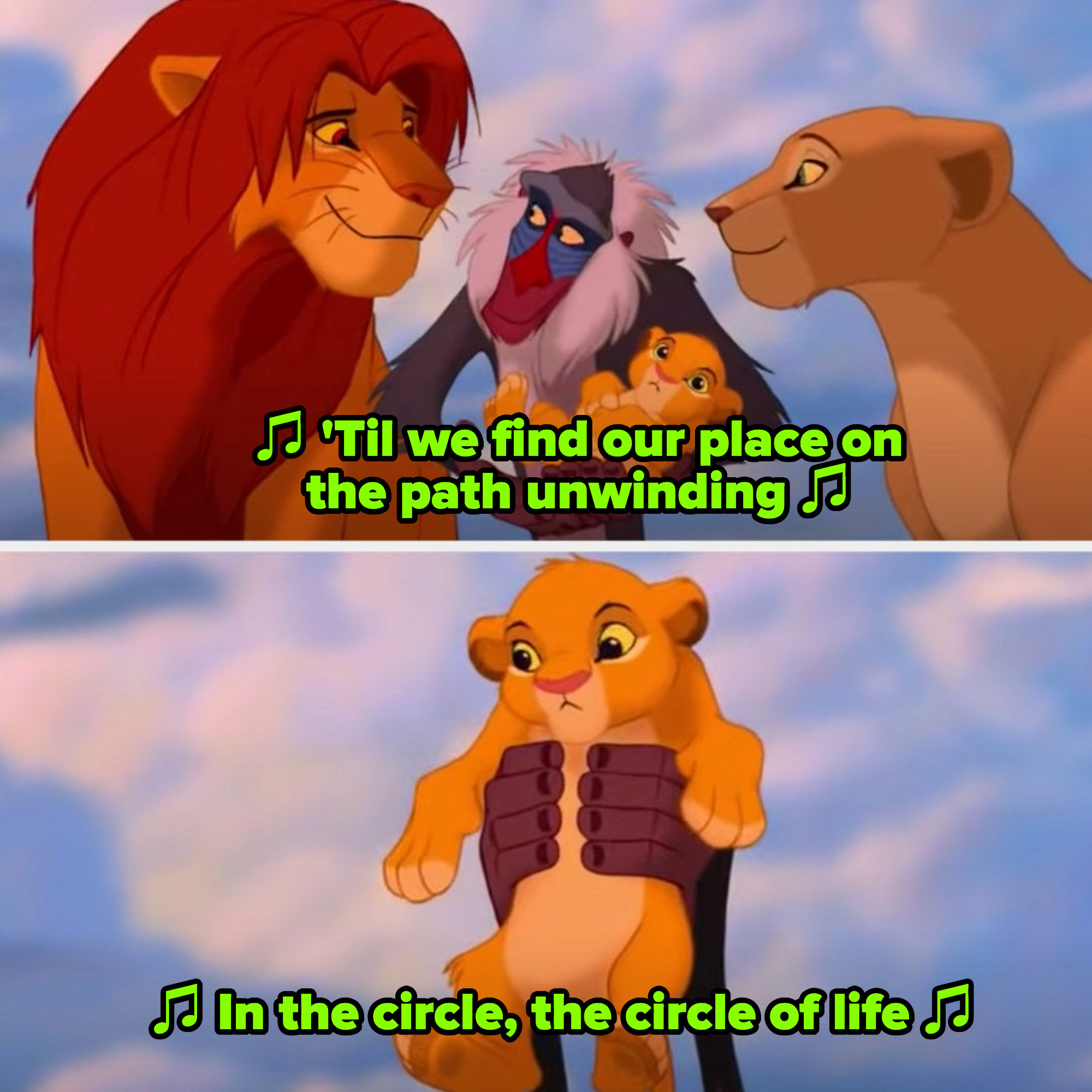"""The ending of """"The Lion King,"""" with Simba taking over as king and introducing his son to the kingdom"""