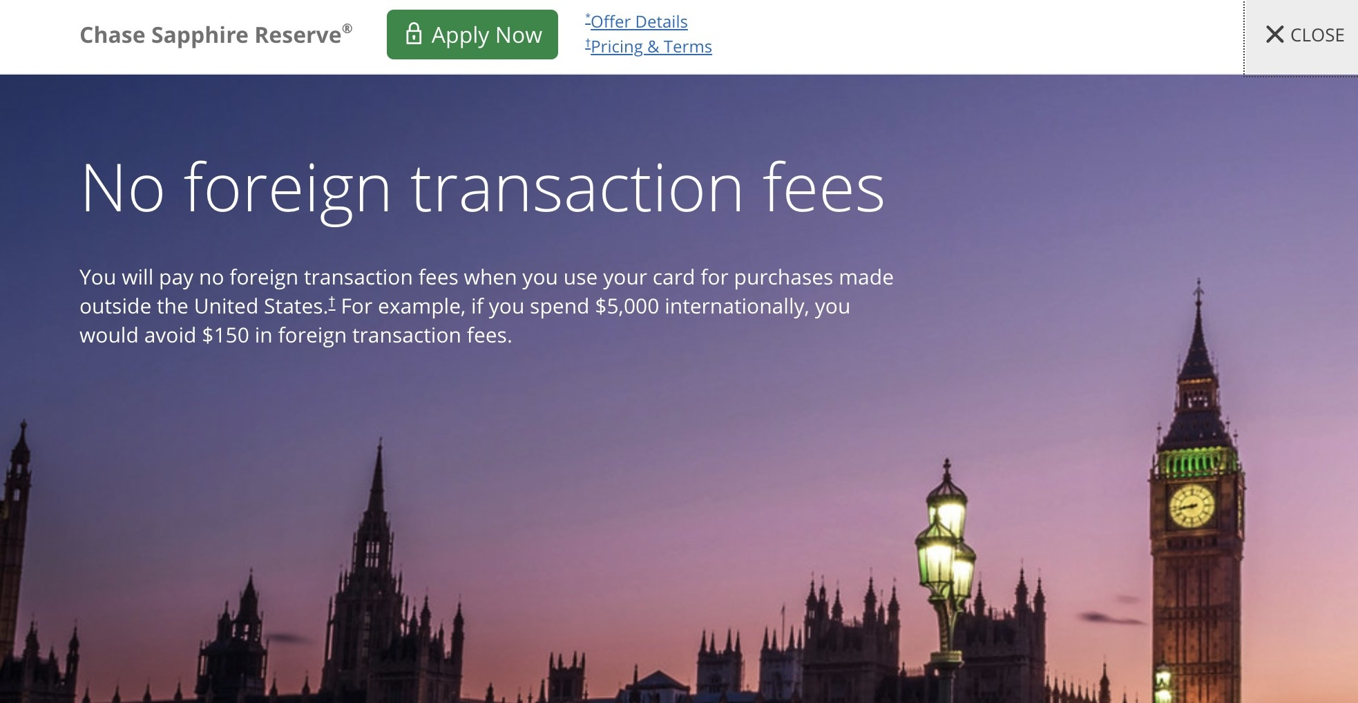 Screenshot showing no foreign transaction fees from Chase