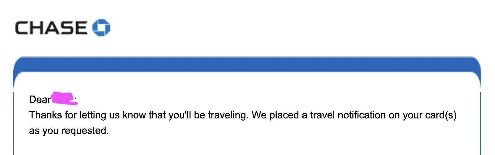Screenshot of a travel notification