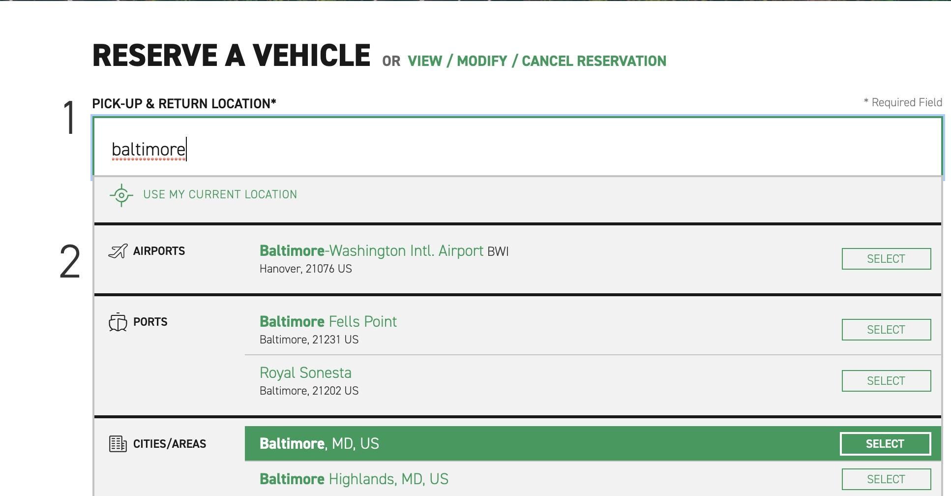 Screenshot of car rental pickup locations in Baltimore