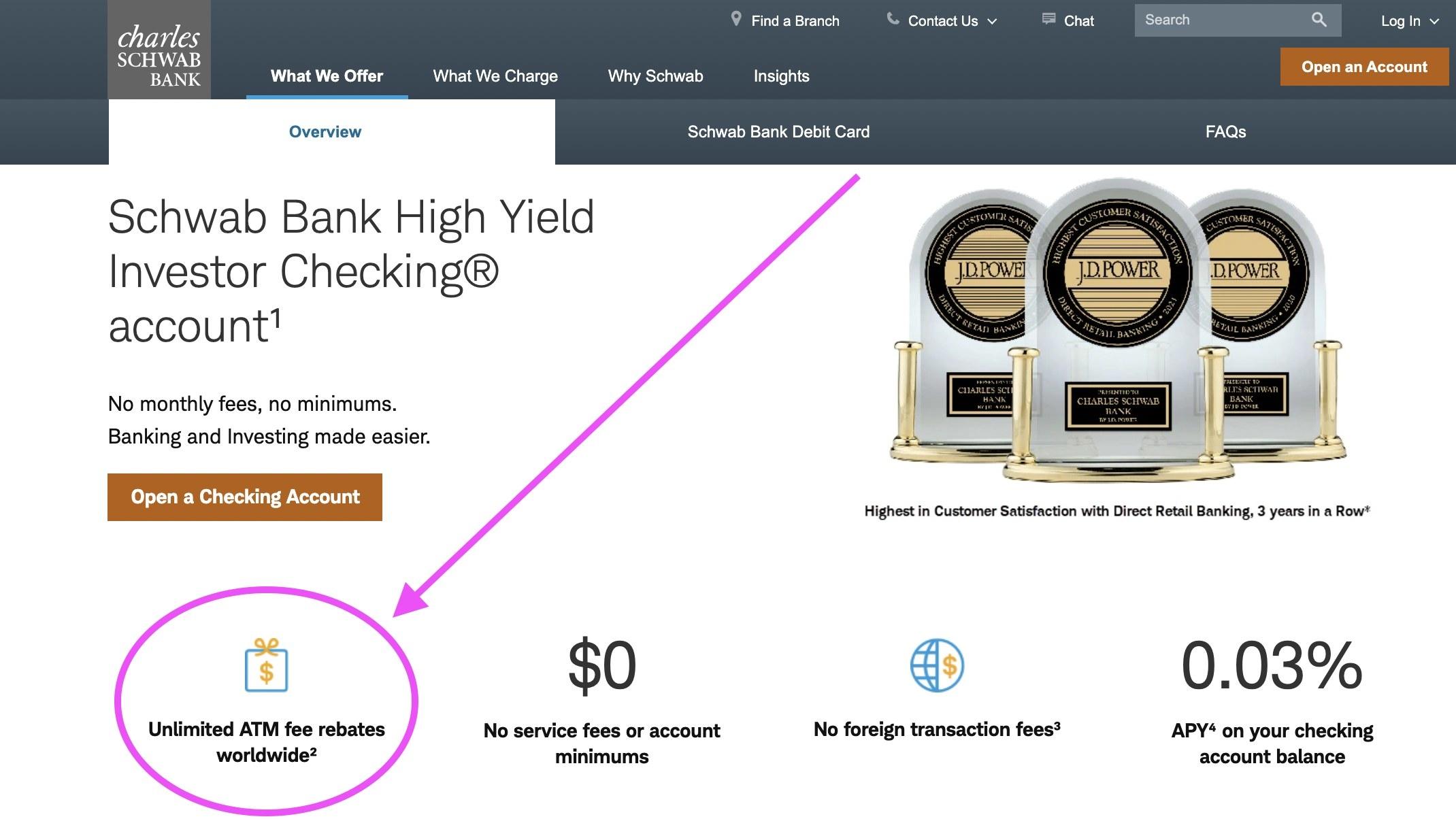 Screenshot of Schwab's ATM fee rebate promise