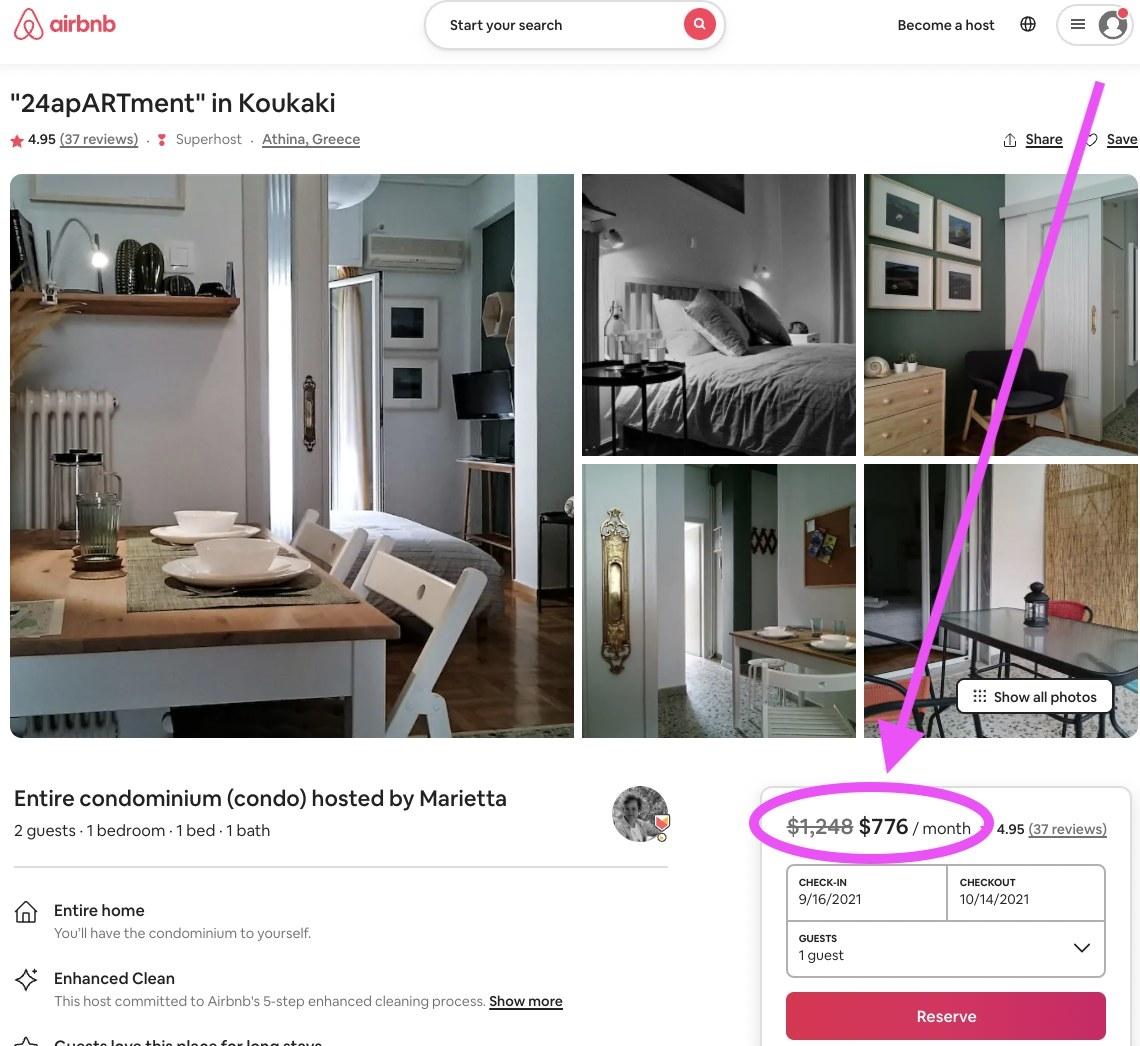 Screenshot of savings if you book a monthly rental