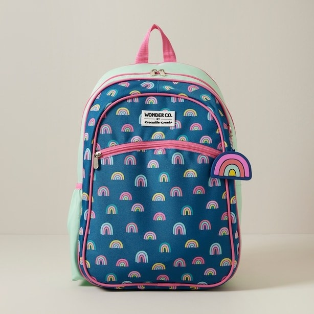 a backpack patterned with cute rainbows